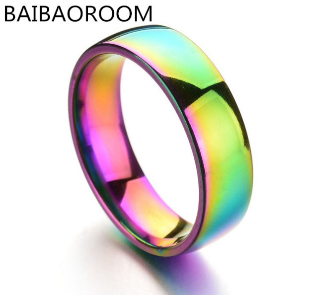 Fashion Jewelry 6MM Colorful Glare Smooth Rainbow Ring Stainless Steel Rings For