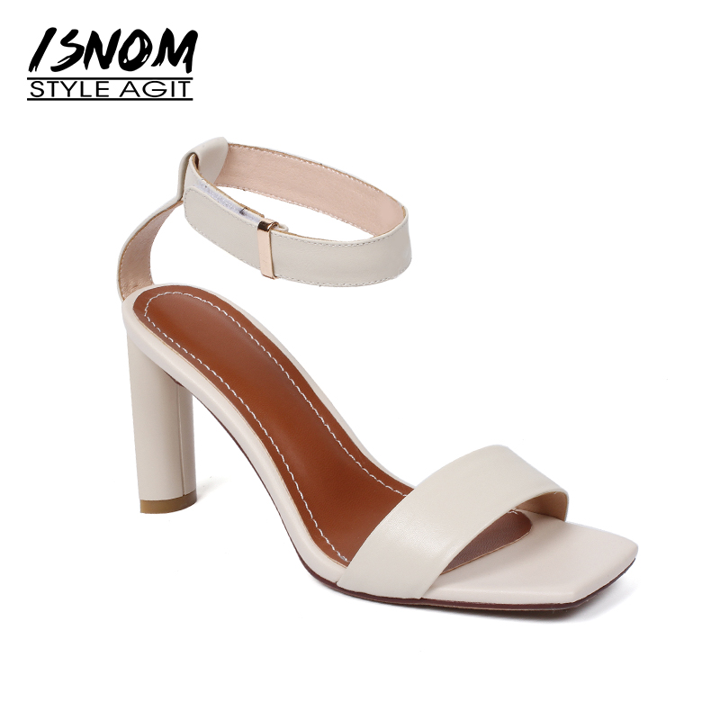 Isnom летние сандалии на высоком каблуке Для женщин с открытым носком Пояса из натуральной кожи необычный стиль модной обуви Ремешок на щикол...
