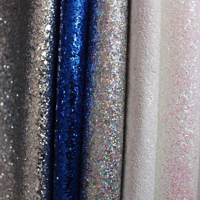 Hot Sale Chunky PU Chunky Glitter Leather Fabrics Raw Material Sale By Yard Wholesale 40 Yard Per Roll
