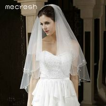 Mecresh Floral Lace Bridal Wedding Veils Women Accessories One Layer White Ivory Tulle Mariage Elbow Length Veil for Bride TS004