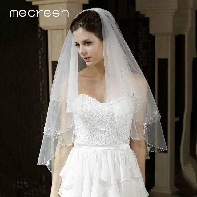 Mecresh dentelle florale mariée Mariage voiles femmes accessoires une couche blanc ivoire Tulle Mariage coude longueur voile pour mariée TS004