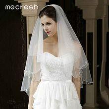 Mecresh velos de encaje Floral nupciales para novia, accesorios para mujer, tul blanco marfil de una capa, velo con longitud hasta el codo para novia TS004