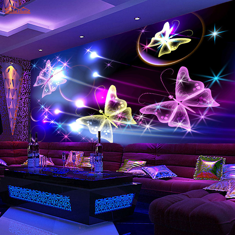 Large Shinning Butterfly Flying KTV 3D Room Wallpaper Landscape Photo Wallpaper for Walls 3 d Livingroom Mural Rolls Decor Decal 10m victorian country style 3d flower wallpaper background for kids room mural rolls wallpapers for livingroom wall paper decal