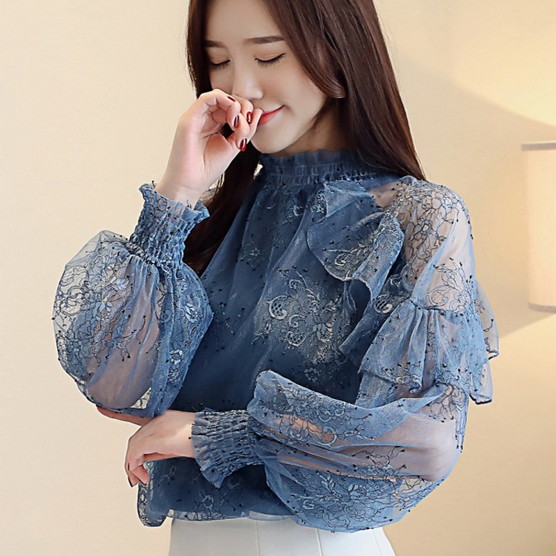 Blouse 2019 Women lantern Sleeve blue Ladies Chiffon Blouse Casual Lace Polka Print Stand Neck Shirt Solid Floral Tops Blouse