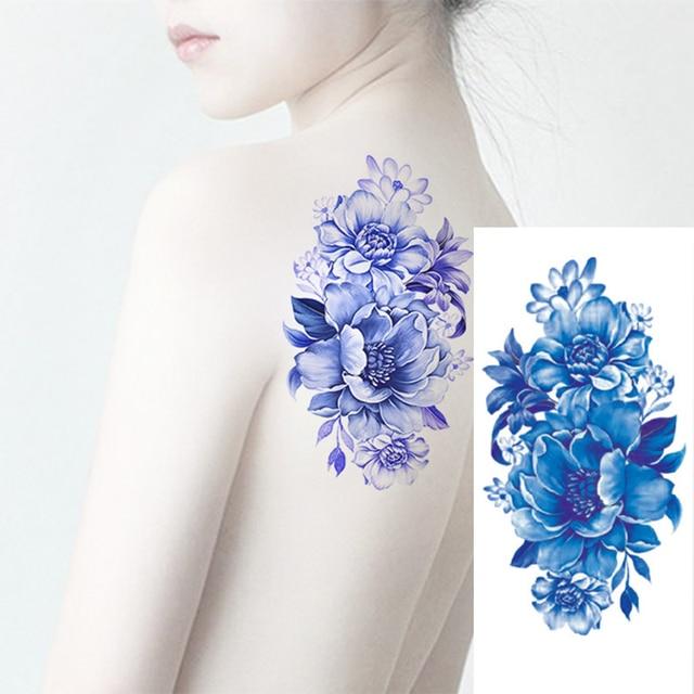 1 Pcs Wanita Pria Diy Henna Tubuh Seni Tato 3d Manusia Hidup Bunga