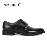 VIKEDUO Классические черные мужские монах обувь ручной работы из 100% натуральной кожи деловые платье формальный обуви оригинальный дизайн