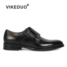 VIKEDUO classic black Mens Monk Shoes custom handmade 100% Genuine Leather business office dress formal shoe original design 2018 sale vikeduo handmade mens loafer black suede 100