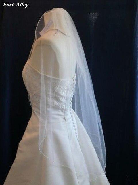 Satu Lapisan Panjang Jari Bridal Veil Pensil Ujung Wedding Veil dengan Sisir