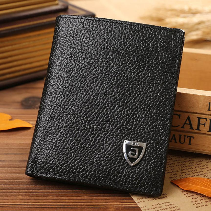 2018 Bifold Wallet Men Leather Credit/ID Card Holder Billfold Purse Mini Wallet Men Short pu Leather Wallet #xqx pu leather short purse call of duty mac v sog new fashion anime cartoon wallet billfold with cards photo holder