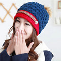 2016 Autumn Candy Beanie Knitted Caps Fashion Crochet Hats Pompons Curling Ear Protect Winter Cute Casual Cap Gorro Feminino