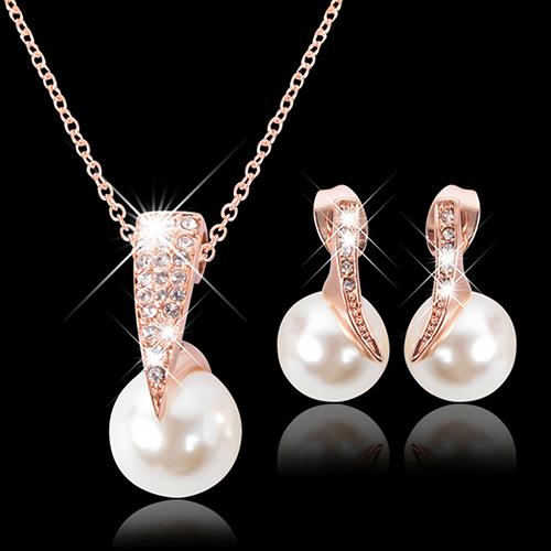 Wedding Jewelry Set Bride Rose Gold Crystal Faux Pearl Pendant Necklace Earrings dubai jewelry sets wedding jewelry