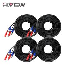 H. View 4 шт. 30 м 100ft кабель видеонаблюдения BNC и DC штекер видео кабель питания для проводной AHD камеры DVR система видеонаблюдения Аксессуары