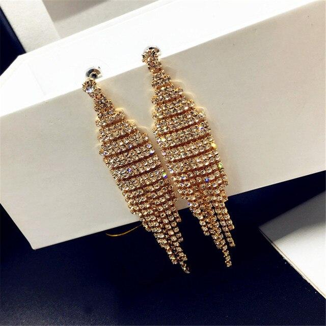 627f7dede Gorgeous Silver Gold Color Bridal Tassel Drop Earrings Sparkling Full  Rhinestone Crystal Long Dangle Earrings Wedding Jewel MB