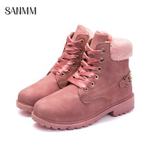 SANMM Women Lace-Up Ankle Boots Comfortable Non-Slip Short Plush Warm Cotton Shoes Woman Casual Rivet AZ37