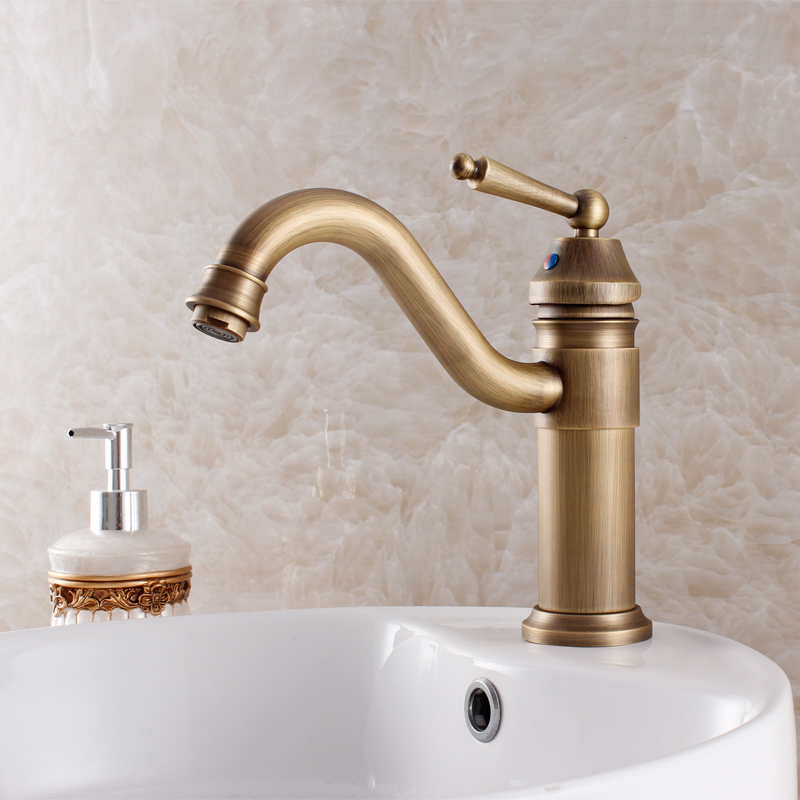2015 Torneira Banheiro Faucet Bathroom Fashion Bathroom Antique Copper Basin Art Hot And Cold Faucet Vintage Wash Single Hole 2015 new arrival kitchen faucet tap fashion copper antique and porcelain counter basin hot cold faucet vintage wash single hole