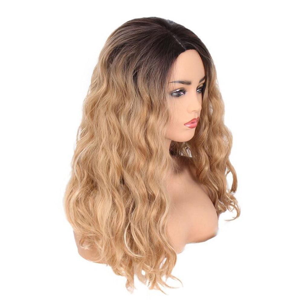 Wig Stands Fashion Novel Modern Natural Women Fashion Lady Big Wave Gradation Golden Wig Curly Hair Drop shipping June12