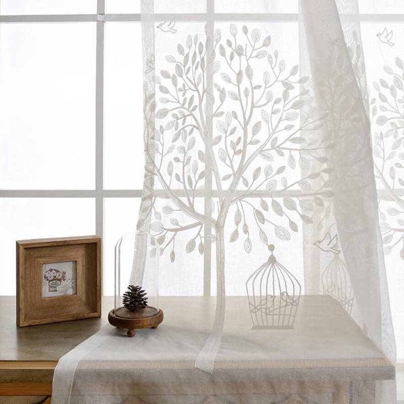 pattern leaf sheer grey embroidery color patterned light curtains