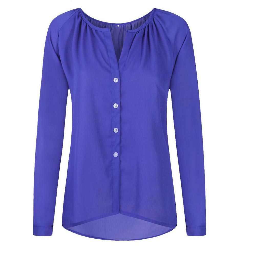 Verano mujeres de manga larga Blusa de gasa Sexy cuello en V sólido plisado botón camisa suelta de gran tamaño señoras Tops más tamaño EF6173