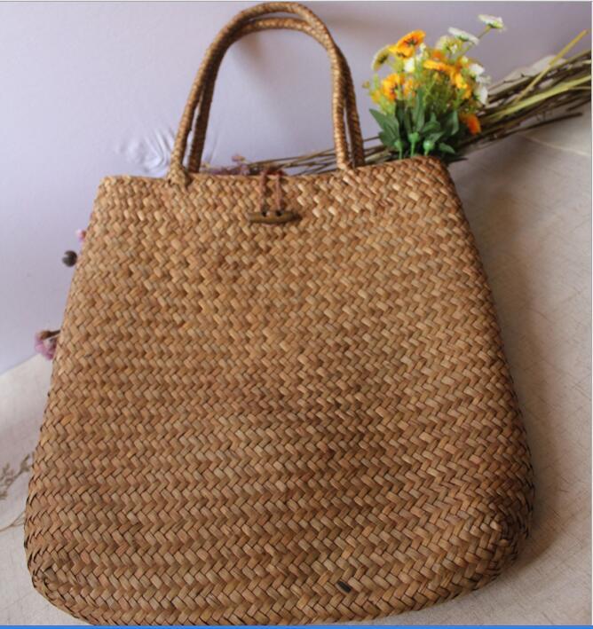 Kinesisk Immateriell Kulturarv Willow Straw Bag Stor Stro Handväskor - Väskor för bagage och resor - Foto 6
