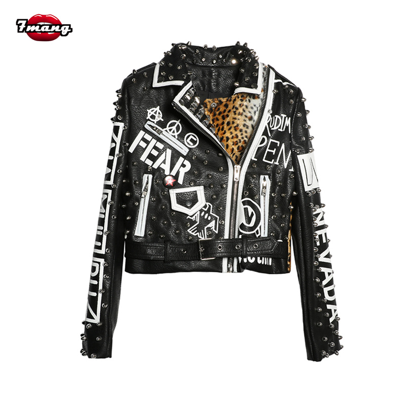 7mang 2019 Women Punk Party Street Letter Printing Faux Leather Jacket Black Rivet Beading Long Sleeve Motorcycle Leopard Coat