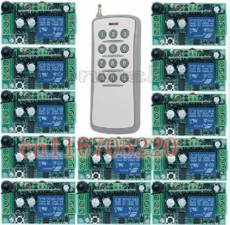 卸売1チャンネルdc 12ボルトrfワイヤレスリモートコントロールキットラジオスイッチ-1トランスミッタ& 12レシーバートグル制御モメンタリ