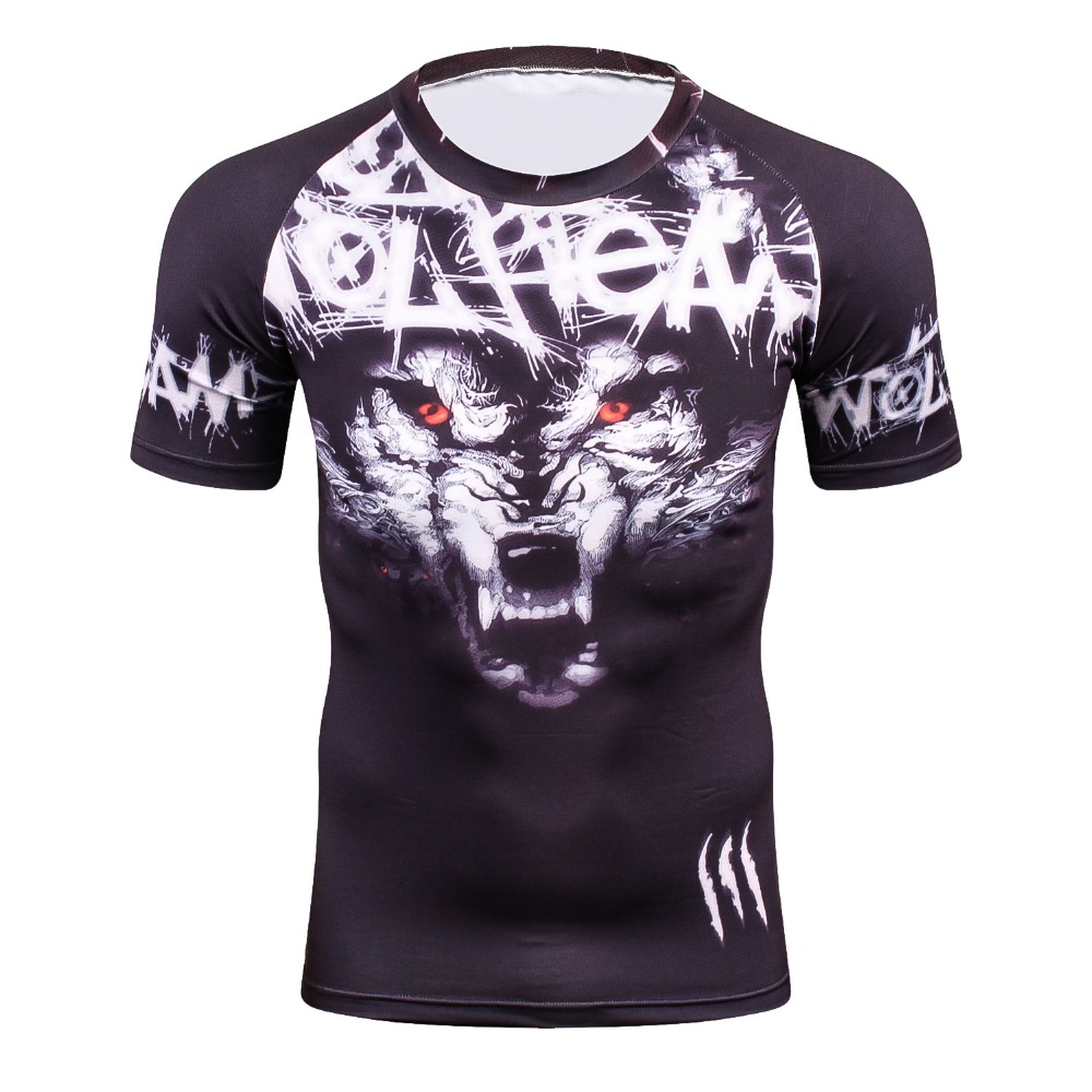 Cool Men's 3D Tshirts Wolf Printing Short Sleeve Boys Compression Tight Skin Shirt MMA Fitness Base Layer Weight Lifting T-Shirt