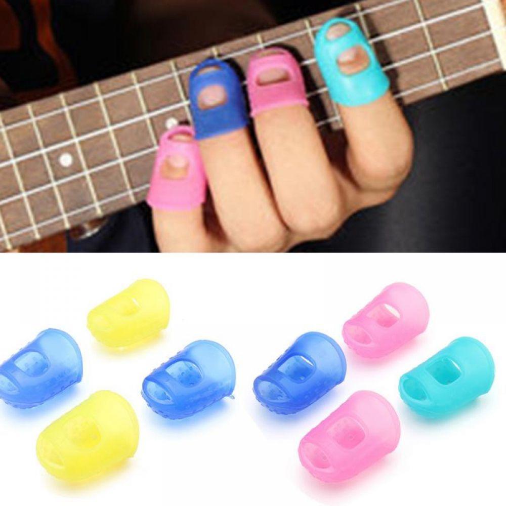 4 шт./компл. силиконовые палец охранники гитары защита для пальца для Гавайские гитары укулеле размеры s, m, l случайный цвет