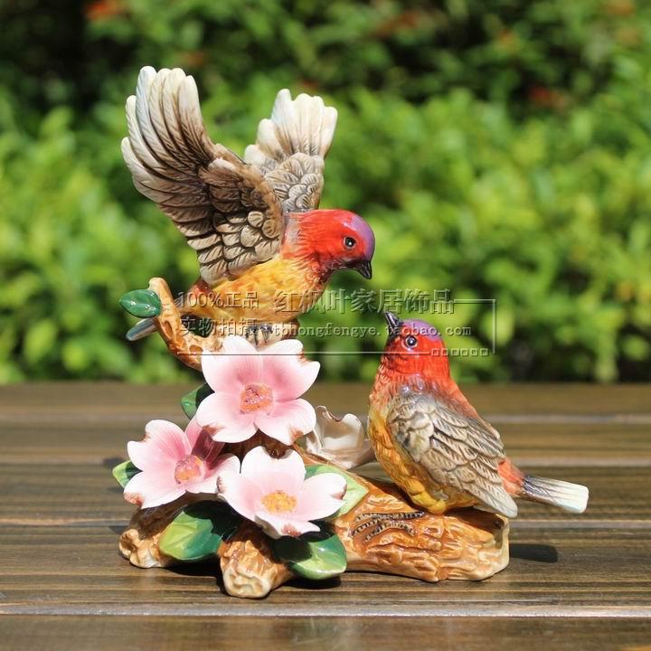 ceramic flower bird lovers figurines home decor kawaii ornement crafts room decoration porcelain animal figurine