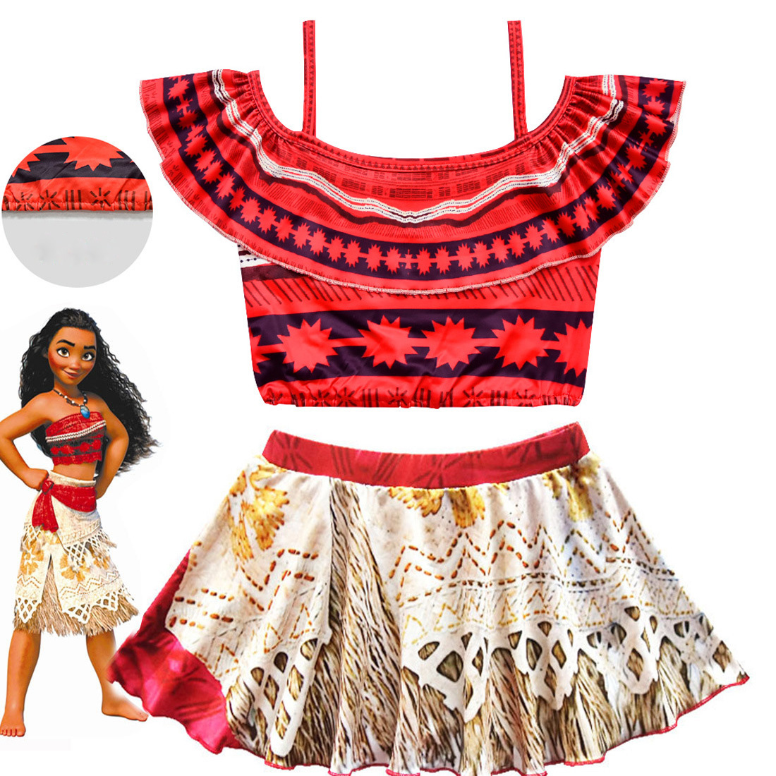 2018 New Moana Girls Dress Summer Kids Swim Clothing Cartoon Beach Dress Cosplay Children Swimsuit Bikini Adventure Outfit ...