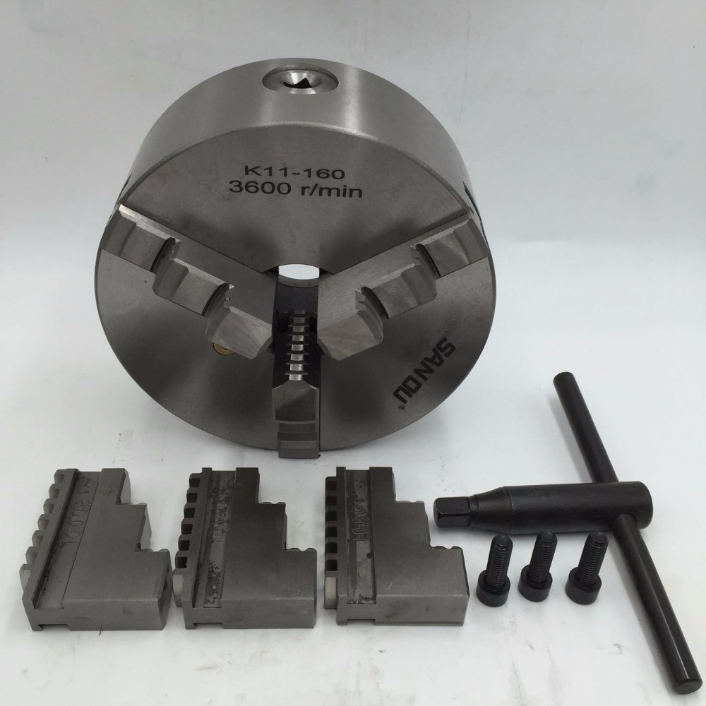 160mm Lathe Chuck Self centering 3Jaw Chuck Hardened Steel 6 3600r min for Lathe Drilling Milling