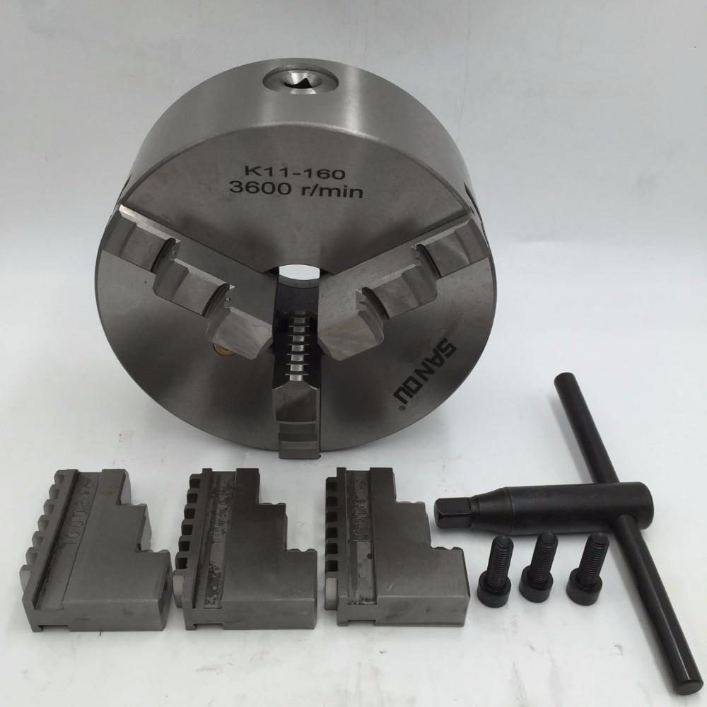 Mandrin de tour 160mm auto-centrage mandrin 3Jaw en acier trempé 6 ''3600r/min pour fraiseuse de forage de tour