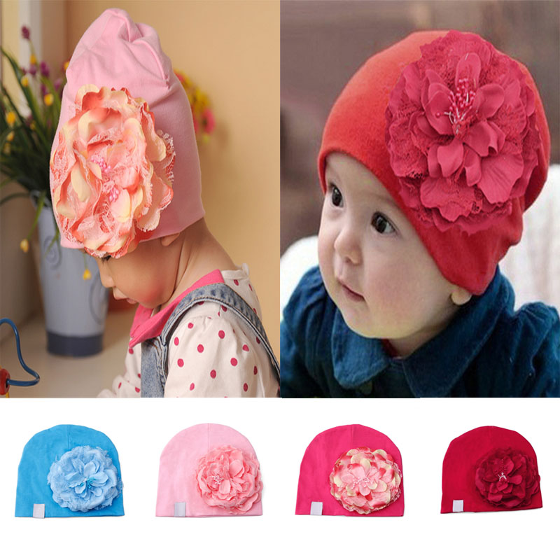 Baby Cotton Beanies Infant Hat Big Peony Flower Toddler Cap Photography Props #K4UE# Drop Ship