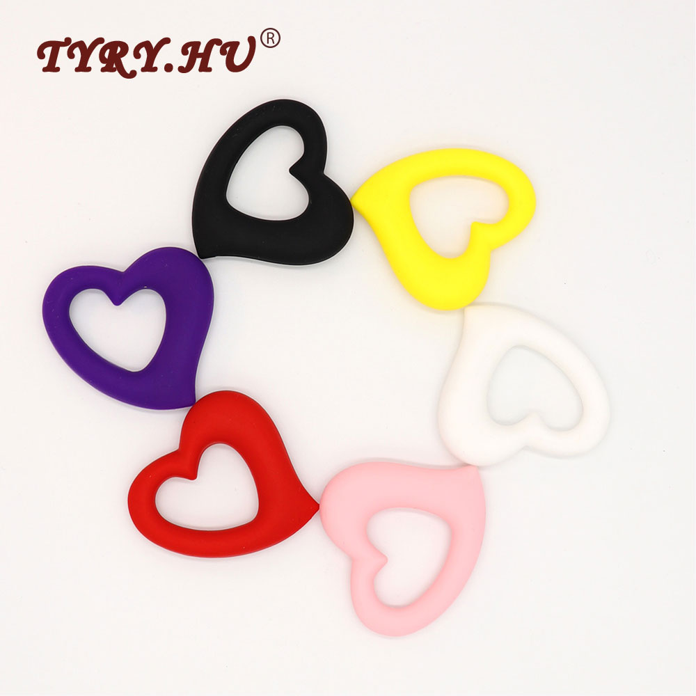 TYRY.HU Original 60*65mm Heart Shape Silicone Teether Pendant Baby Teether BPA Free Silicone Beads For Necklace Pacifier Chain