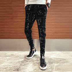 Высокое качество хип хоп Панталон Homme Фирменная Новинка Slim Fit печати брюки для девочек мужские, длиной до щиколотки черный Дамские шаровары
