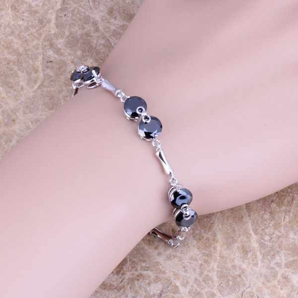 Dazzling Preto Cubic Zirconia 925 Sterling Silver Chain link Bracelet 7-8 polegada Para As Mulheres S0260