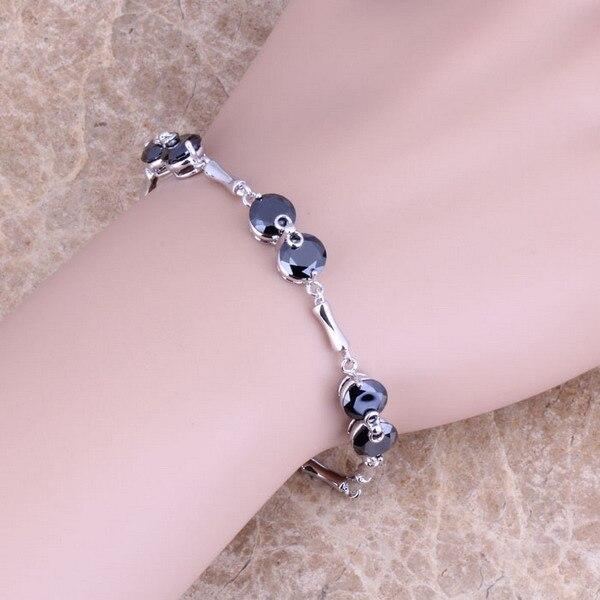 Dazzling Black  Cubic Zirconia 925 Sterling Silver  Link Chain Bracelet 7 - 8 inch For Women  S0260
