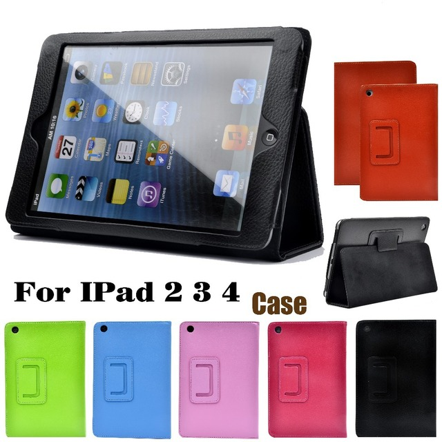 For Apple ipad 2 3 4 Case Auto Sleep /Wake Up Flip Litchi PU Leather Cover For New ipad 2 ipad 4 Smart Stand Holder Folio Case 2