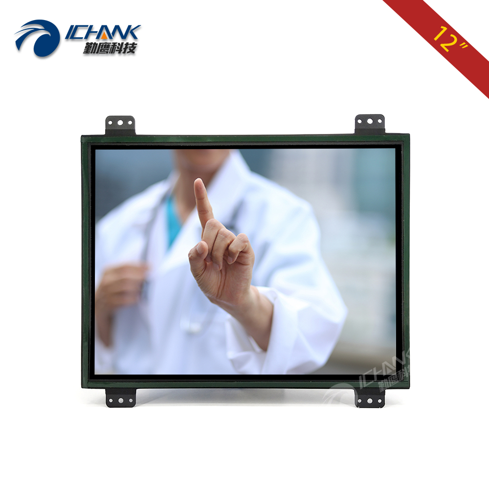ZK120TC DR2 12 1 inch 1024x768 4 3 Metal Shell DVI VGA Embedded Open Frame Industrial