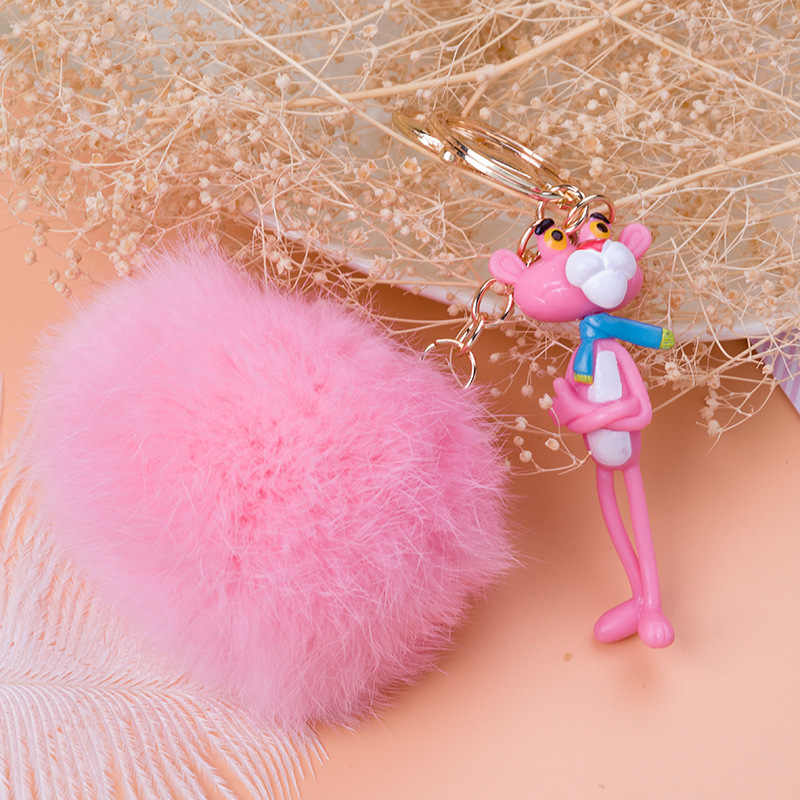 Bonito Dos Desenhos Animados Anime Pink Leopard Keychain Nova Bola De Pêlo Mulher amantes Anel Chave Saco Titular Cadeia Presente Pompom Pompom Fofo coelho