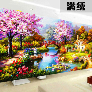 Image 3 - 2020 new design DIY garden house cross stitch kits 100% Accurate printed Embroidery Cross  landscape Needlework  Wall Decor