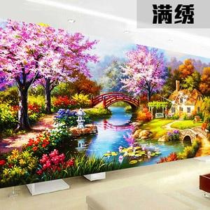 Image 3 - 2020 nouveau design bricolage jardin maison point de croix kits 100% précis imprimé broderie croix paysage couture mur décor