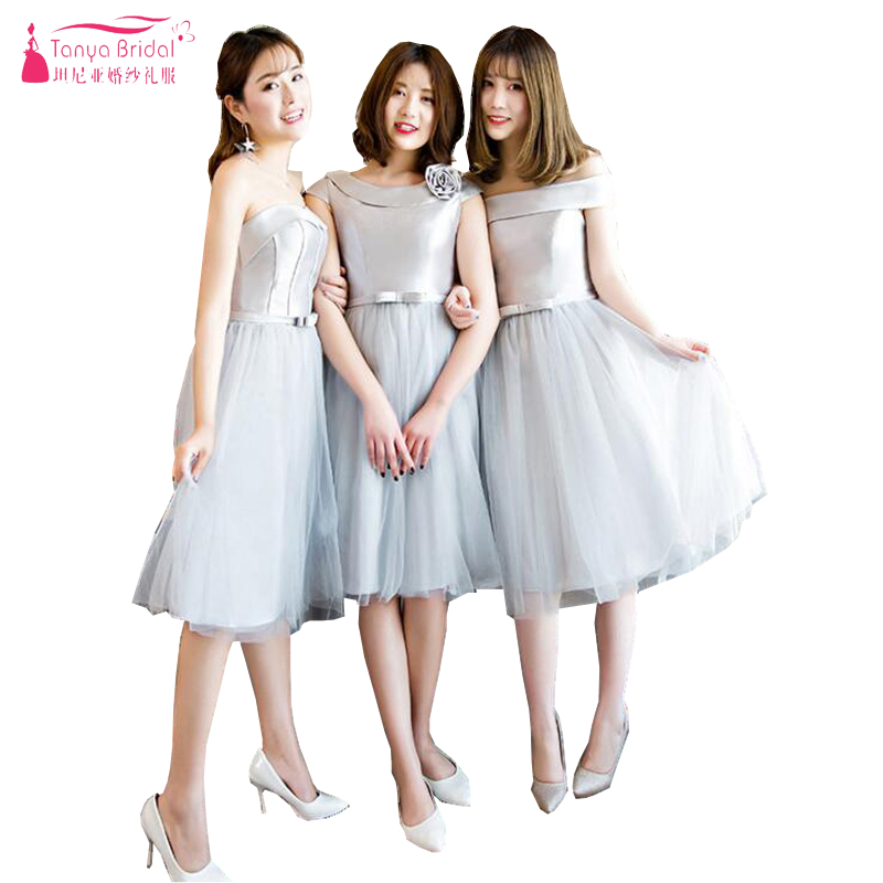 Silver Knee Length   Bridesmaid     Dresses   Satin And Tulle Cheap Fairy Maid Of Honor Gowns African Party   Dress   In Stock ZB010