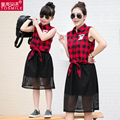 2017 Family fashion summer clothes for mother and daughter  plus size plaid shirt +skirt set mother and daughter dress