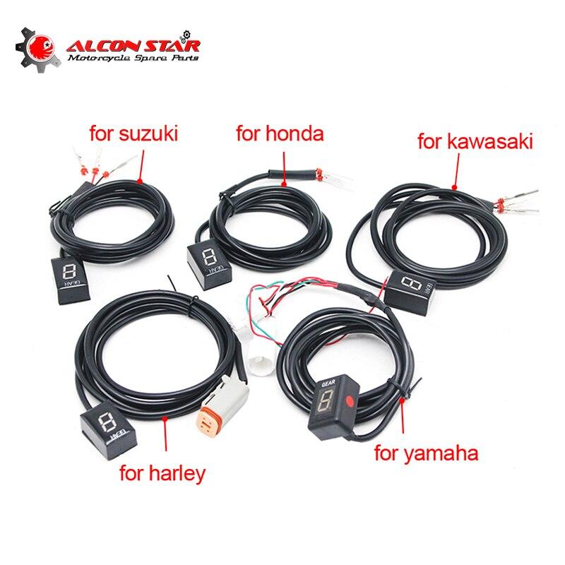 Alconstar-1-6 engrenagem ecu plug monte motocicleta efi velocidade indicador de exibição engrenagem para suzuki para honda para yamaha para kawasaki