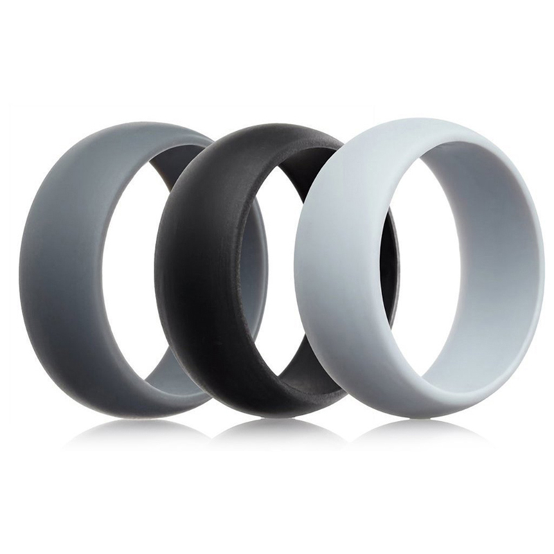 LNRRABC 1PC New Silicone Movement Couples Wedding Round Solid Environmental Cool Comfortable Rings ...