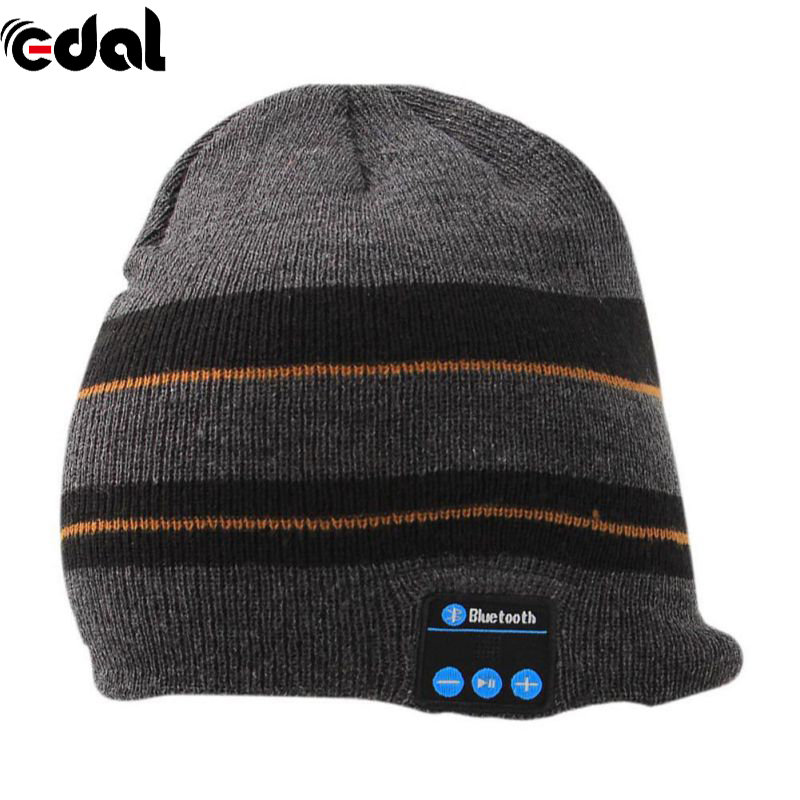 EDAL Rechargeable Bluetooth Music Beanie Hat Knit Cap Wireless Stereo Headphone Headset Earpiece Speakerphone Mic for Sport unisex winter plicate baggy beanie knit crochet ski hat cap red