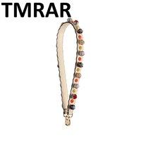 New 2018 Retro flowers studs genuine leather handbag belt trendy design bags strap bag parts bag accessory easy matching qn417