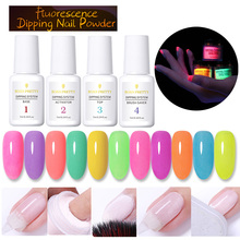 BORN PRETTY Dipping Nail Powder Set Fluorescence Effect Manicure Dipping System Natural Dry Without Lamp Cured Nail Art Decor cured