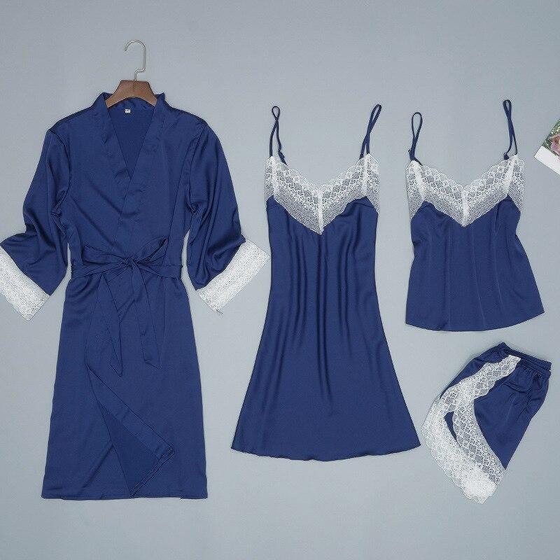 Lady Home Wear Pajamas 4PC Strap Top Pants Suit Sleepwear Sets Woman Nightgown Sexy Kimono Sleep Robe Bath Gown Nightdress