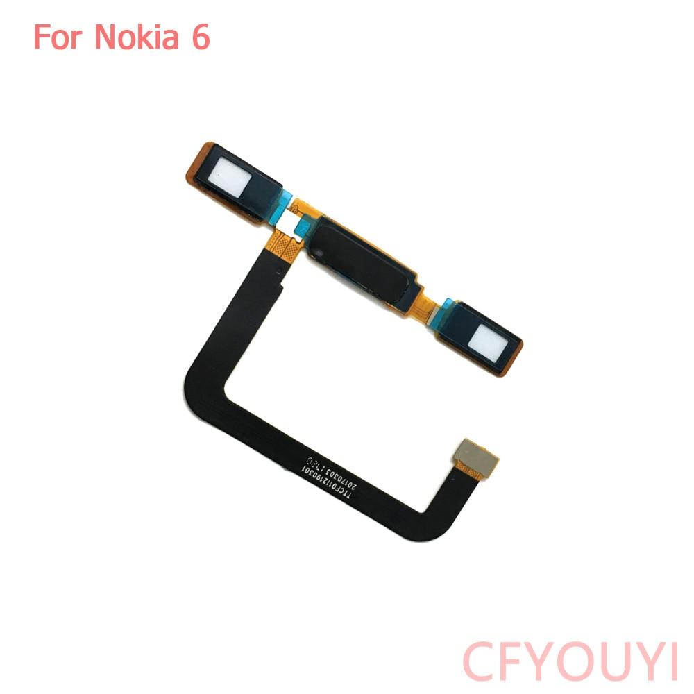 For Nokia 6 Home Button FingerPrint Touch ID Sensor Return Key Flex Cable Ribbon Replacement For Nokia6 FingerPrint Button